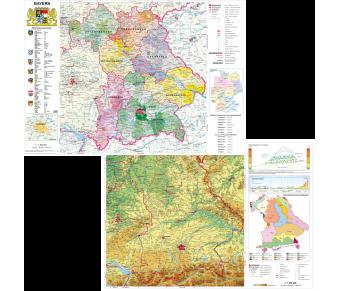 DUO Handkarte Bayern physisch / politisch Set
