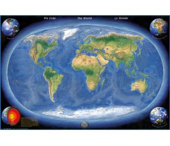 DUO Schreibunterlage Weltkarte (engl.) / Erde Panorama (engl.)