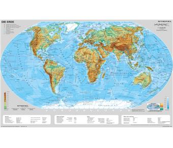 Handkarte Die Erde physisch - 25 Stück