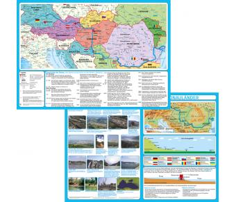DUO Handkarte Die Donauländer politisch mit Relief Set