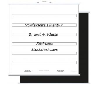 Aufrollbare Whiteboardtafel Lineatur für 3. und 4. Klasse (magnethaftend)