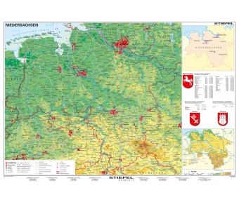 Handkarte Niedersachsen physisch Set