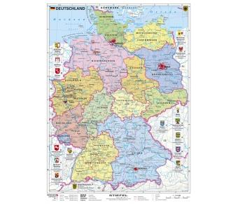Deutschland, politisch mit Bundesländer-Wappen