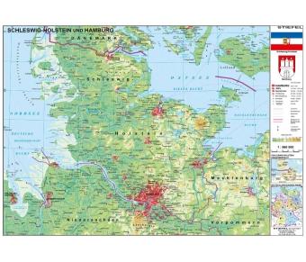 Handkarte Schleswig-Holstein physisch - 25 Stück