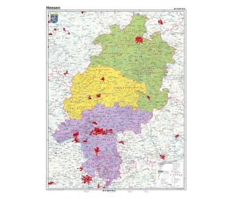 Handkarte Hessen politisch - 25 Stück