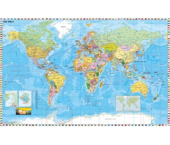 Weltkarte politisch mit Flaggen, deutsche Beschriftung