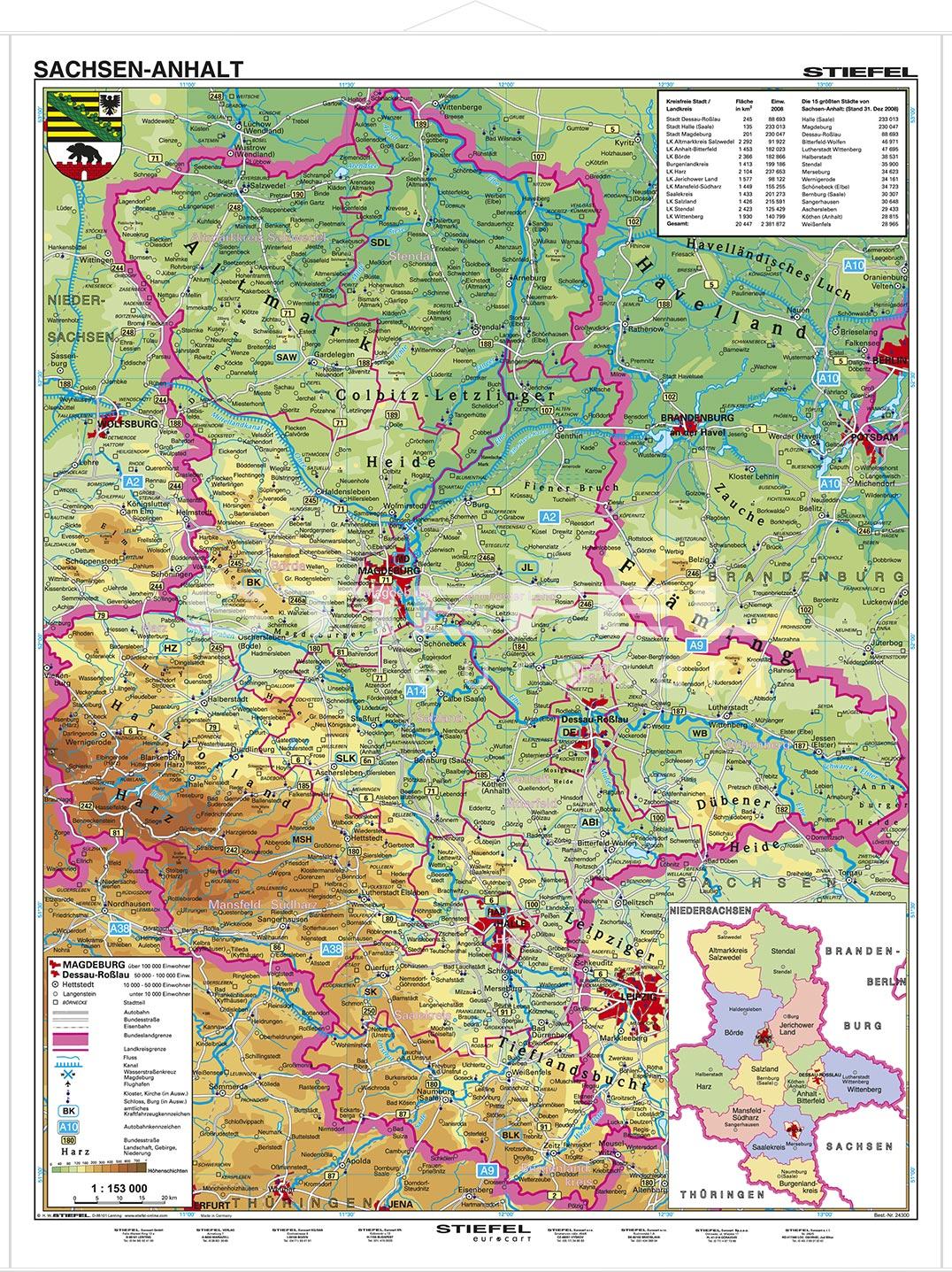 Karte Sachsen Anhalt Mit Flüssen.Sachsen Anhalt Physisch Lerndino De