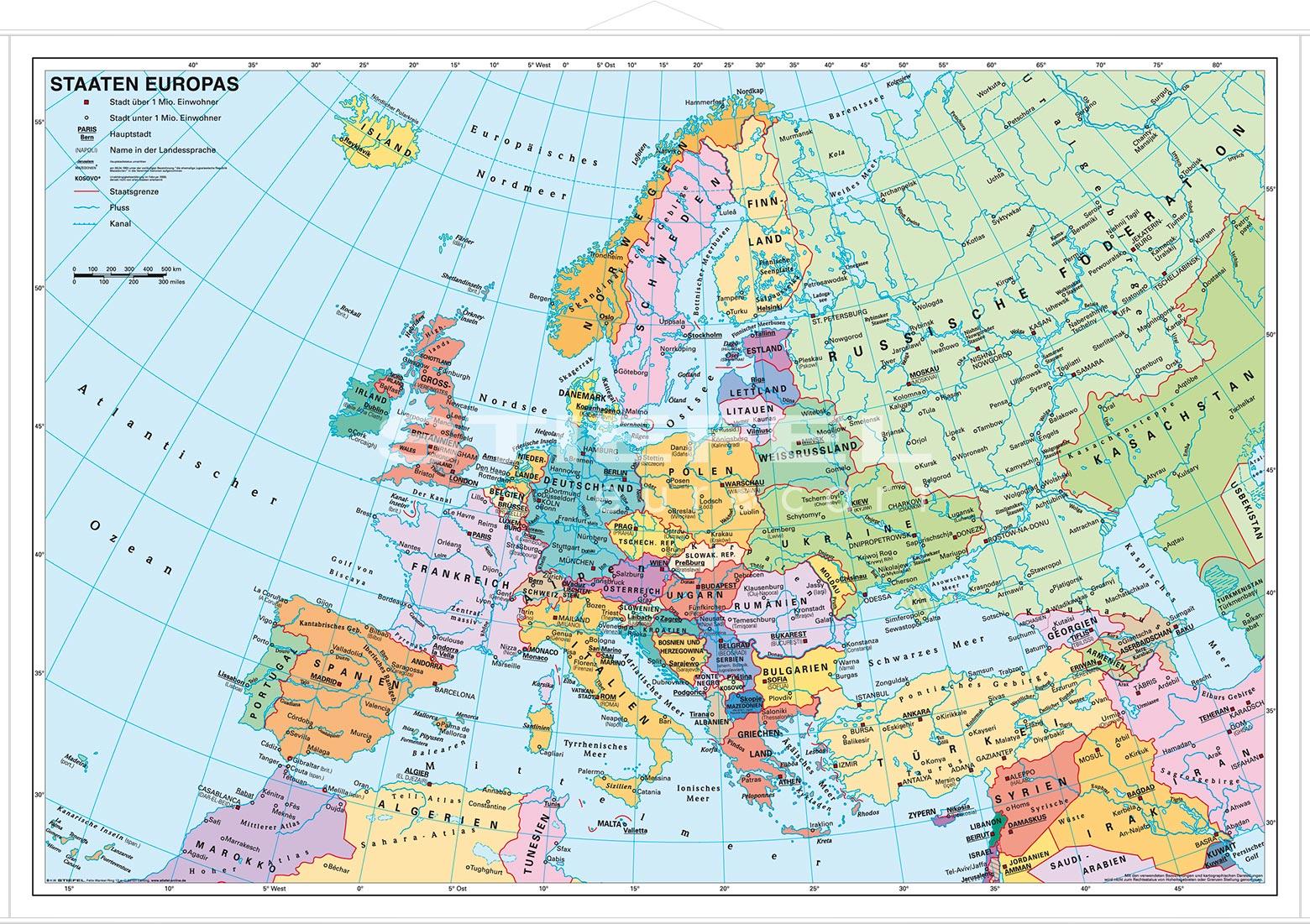 europakarte politisch staaten europas politisch