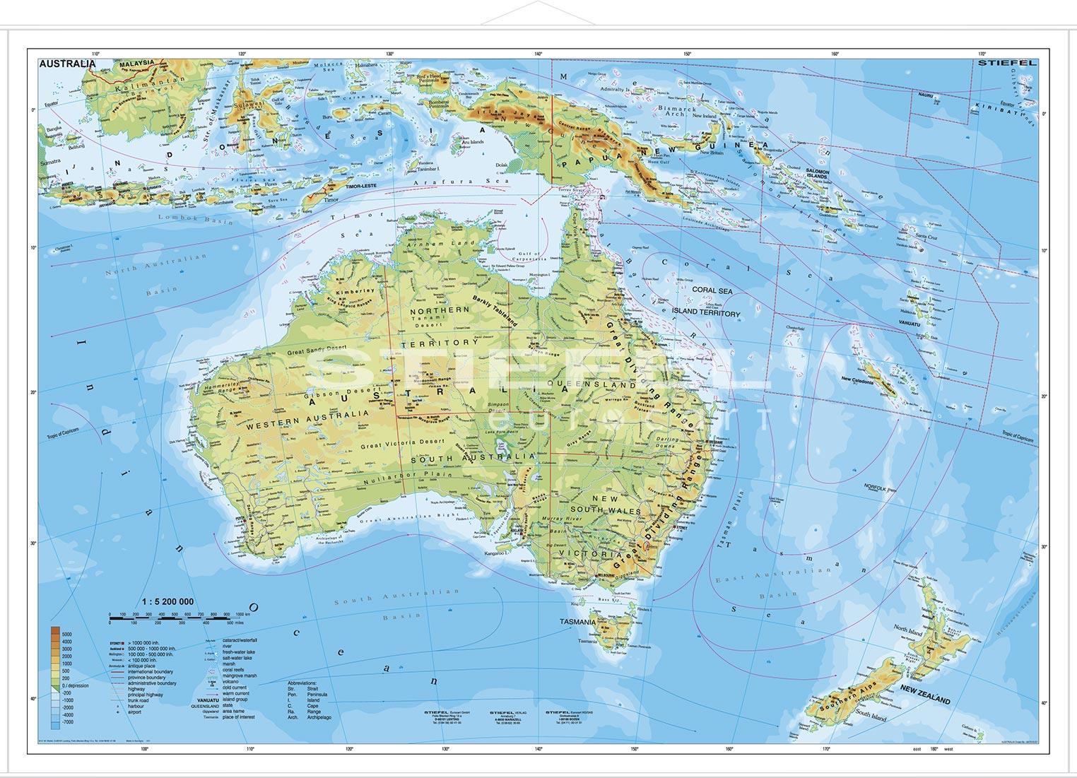 Karte Australien Englisch.Australien Physisch Lerndino De