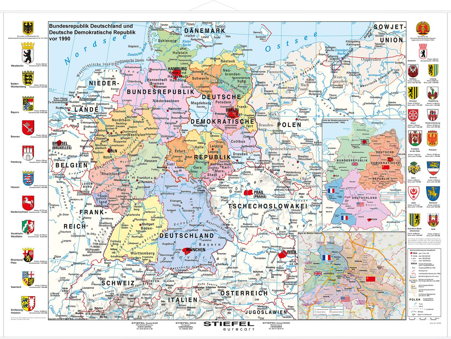 landkarte deutschland vor 1989 Bundesrepublik Deutschland und DDR vor 1990   Lerndino.de