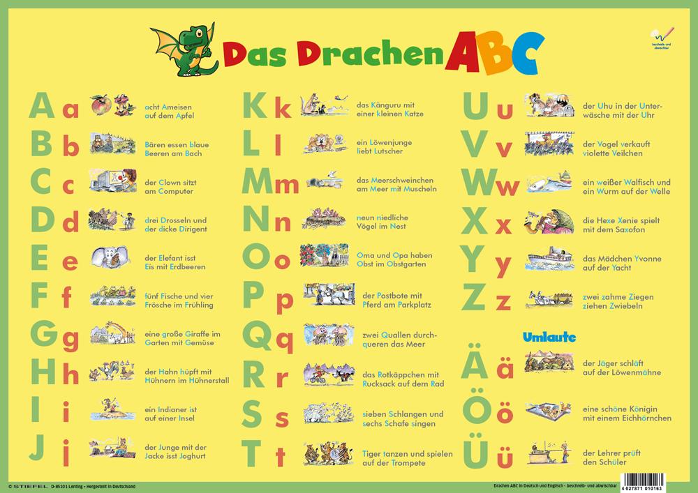 Arbeitsblätter Englisch Abc : Dinocard das drachen abc deutsch englisch lerndino