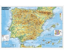 Spanien und Portugal physisch - Poster