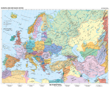 Handkarte Europa und der Nahe Osten politisch - 25 Stück