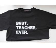 T-Shirt schwarz Promodoro Aufdruck Best Teacher Ever