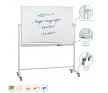 Whiteboardtafel - Stativdrehtafel, magnethaftend, emailliert