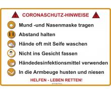 Corona-Schutz Hinweisschild