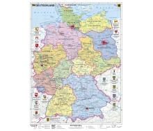 Deutschland politisch mit Wappen - Poster