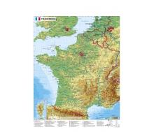 Frankreich physisch mit UNESCO-Welterbestätten und Nationalparks Frankreichs - Poster