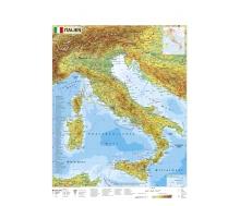 Italien physisch mit UNESCO-Welterbestätten und Nationalparks Italiens - Poster