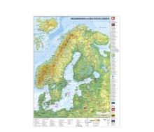 Skandinavien und Baltikum physisch englisch mit UNESCO-Welterbestätten in Norwegen, Schweden, Finnland sowie Dänemark - Poster
