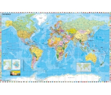 Fototapete Weltkarte politisch mit Flaggen, englische Beschriftung