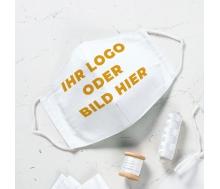 Mund- & Nasenmaske Easy gesäumt-mit Ihrem Logo, Schriftzug oder individueller Gestaltung / Motiv