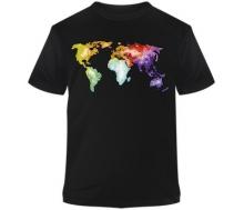T-Shirt schwarz Promodoro Aufdruck Welt bunt aquarell
